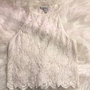 Cream lace crop top
